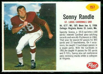 Sonny Randle 1962 Post Cereal football card