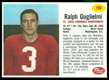 Ralph Guglielmi 1962 Post Cereal football card
