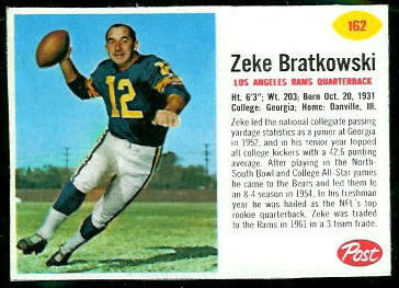 Zeke Bratkowski 1962 Post Cereal football card