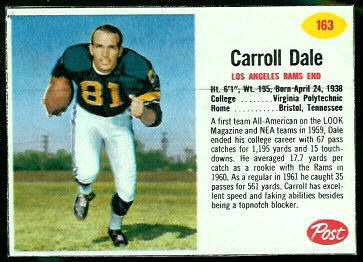 Carroll Dale 1962 Post Cereal football card