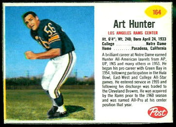 Art Hunter 1962 Post Cereal football card