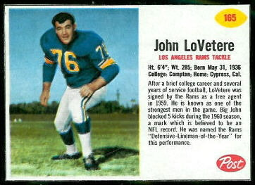 John LoVetere 1962 Post Cereal football card