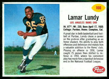 Lamar Lundy 1962 Post Cereal football card