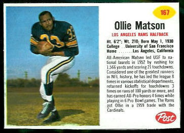 Ollie Matson 1962 Post Cereal football card