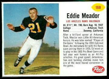 Ed Meador 1962 Post Cereal football card
