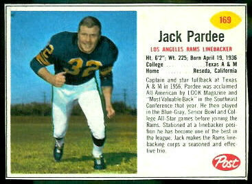 Jack Pardee 1962 Post Cereal football card