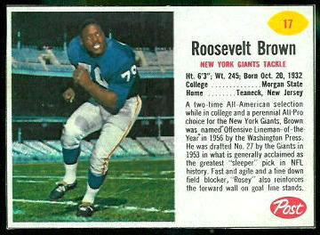 Roosevelt Brown 1962 Post Cereal football card