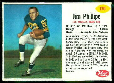 Jim Phillips 1962 Post Cereal football card