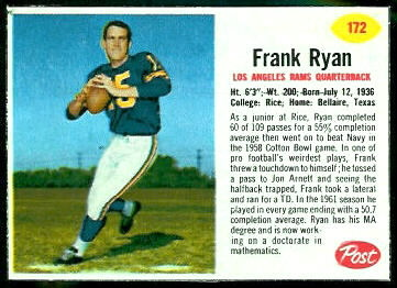 Frank Ryan 1962 Post Cereal football card