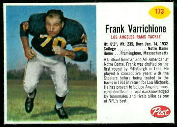 Frank Varrichione 1962 Post Cereal football card