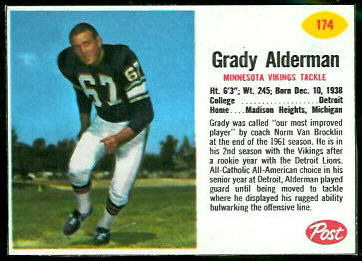 Grady Alderman 1962 Post Cereal football card