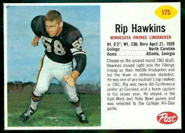 Rip Hawkins 1962 Post Cereal football card