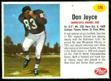 Don Joyce 1962 Post Cereal football card
