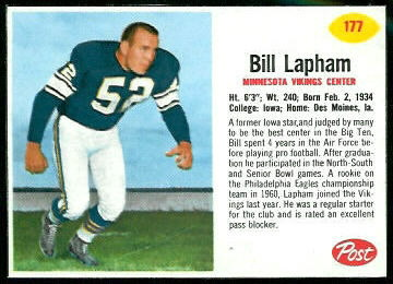 Bill Lapham 1962 Post Cereal football card