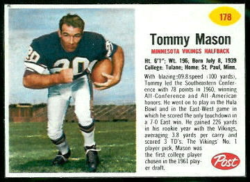 Tommy Mason 1962 Post Cereal football card