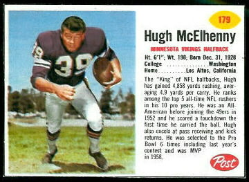 Hugh McElhenny 1962 Post Cereal football card