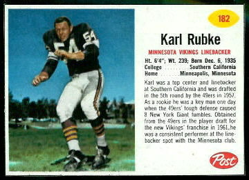 Karl Rubke 1962 Post Cereal football card
