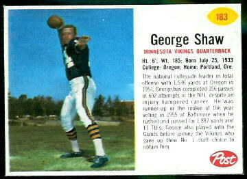 George Shaw 1962 Post Cereal football card