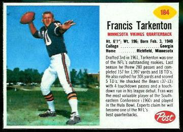 Fran Tarkenton 1962 Post Cereal football card