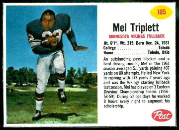 Mel Triplett 1962 Post Cereal football card