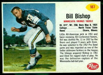 Bill Bishop 1962 Post Cereal football card