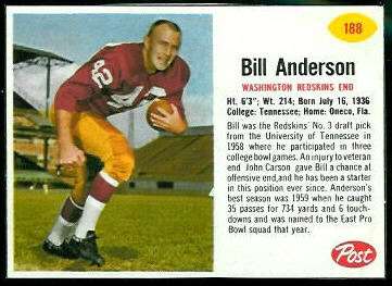 Bill Anderson 1962 Post Cereal football card