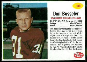 Don Bosseler 1962 Post Cereal football card