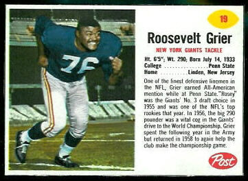 Roosevelt Grier 1962 Post Cereal football card