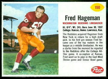 Fred Hageman 1962 Post Cereal football card