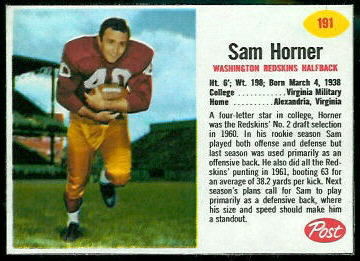 Sam Horner 1962 Post Cereal football card