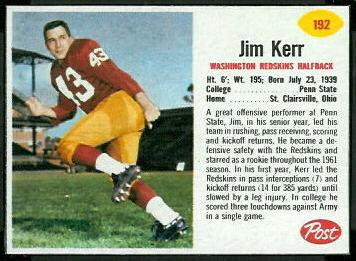 Jim Kerr 1962 Post Cereal football card