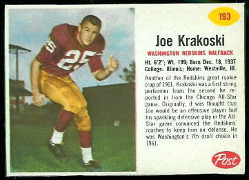 Joe Krakoski 1962 Post Cereal football card