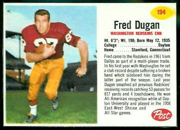 Fred Dugan 1962 Post Cereal football card