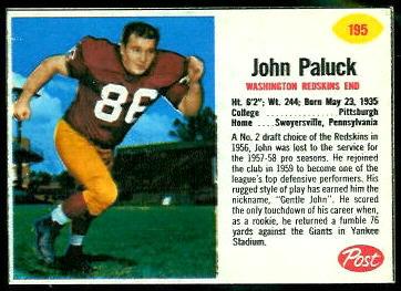 John Paluck 1962 Post Cereal football card