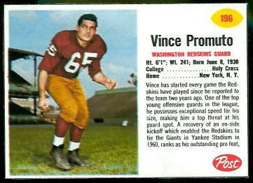 Vince Promuto 1962 Post Cereal football card
