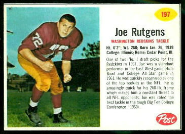 Joe Rutgens 1962 Post Cereal football card
