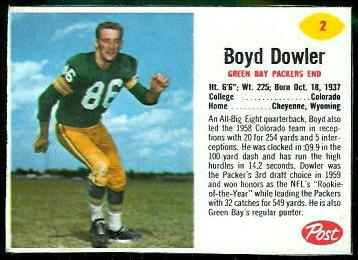 Boyd Dowler 1962 Post Cereal football card