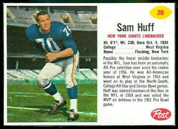 Sam Huff 1962 Post Cereal football card