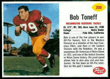Bob Toneff 1962 Post Cereal football card