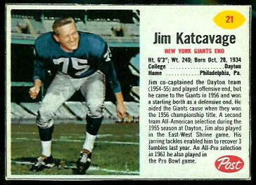 Jim Katcavage 1962 Post Cereal football card