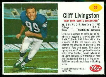 Cliff Livingston 1962 Post Cereal football card