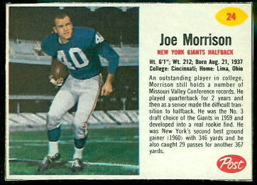 Joe Morrison 1962 Post Cereal football card
