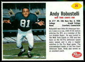 Andy Robustelli 1962 Post Cereal football card