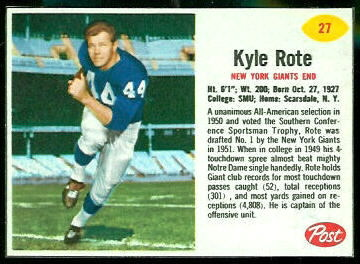 Kyle Rote 1962 Post Cereal football card