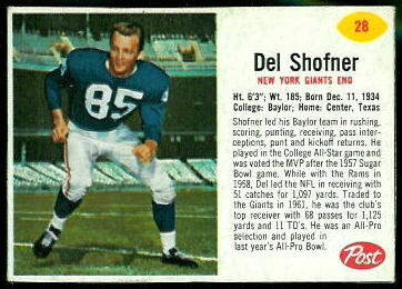 Del Shofner 1962 Post Cereal football card