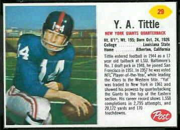 Y.A. Tittle 1962 Post Cereal football card