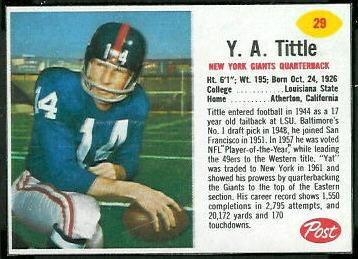 YA Tittle 1962 Post Cereal 29 Vintage Football Card