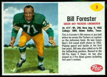 Bill Forester 1962 Post Cereal football card