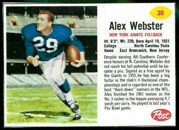 Alex Webster 1962 Post Cereal football card