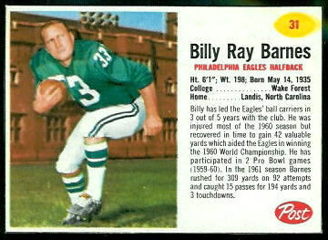 Bill Barnes 1962 Post Cereal football card